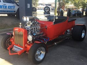 Customized old red vintage car