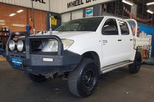 Customized white pick up truck